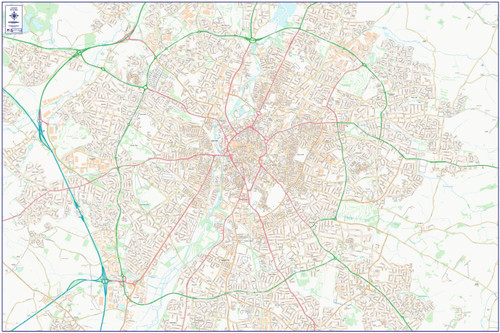 City Street Map - Central Leicester - Colour - Overview