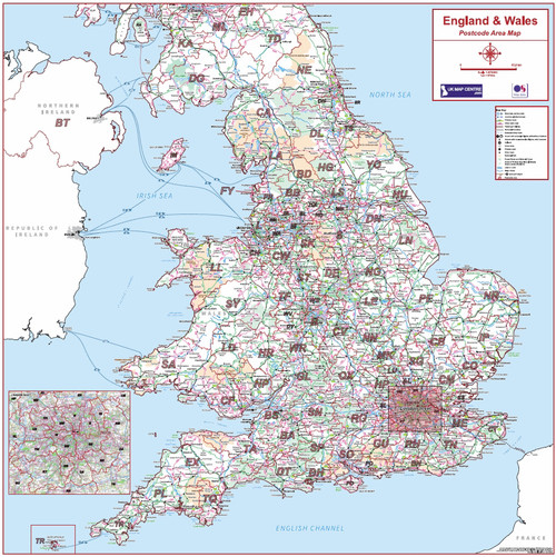 Postcode Area Map 6 - England and Wales - Colour - Overview