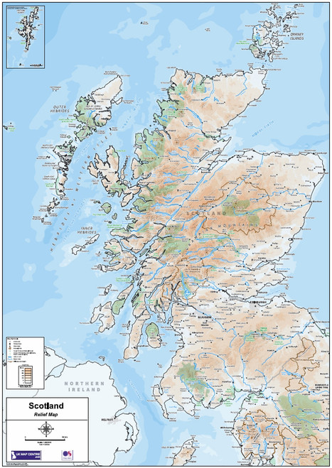 Relief Map 2 - Scotland - Colour - Overview