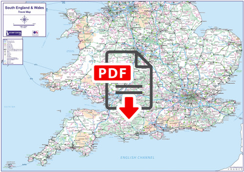 Travel Map 4 - Southern England & Wales - Digital Download