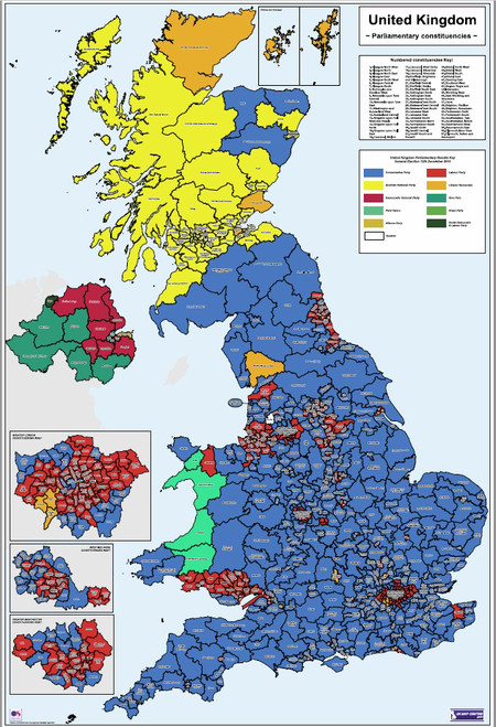 UK Parliamentary Map 2019 - Colour - Overview