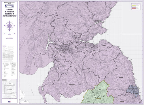 Admin Boundary Map 3 - Southern Scotland & Northumberland - Overview