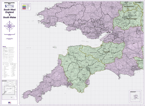 Admin Boundary Map 7 - South West England & South Wales - Overview