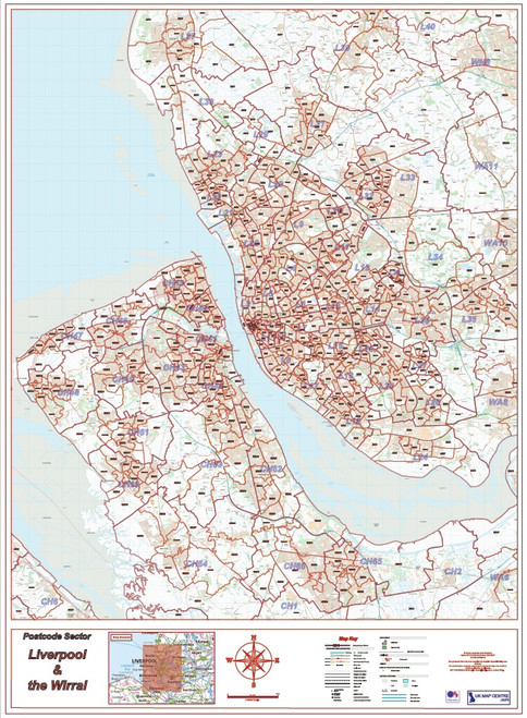 Postcode City Sector XL Map - Liverpool & The Wirral - Overview