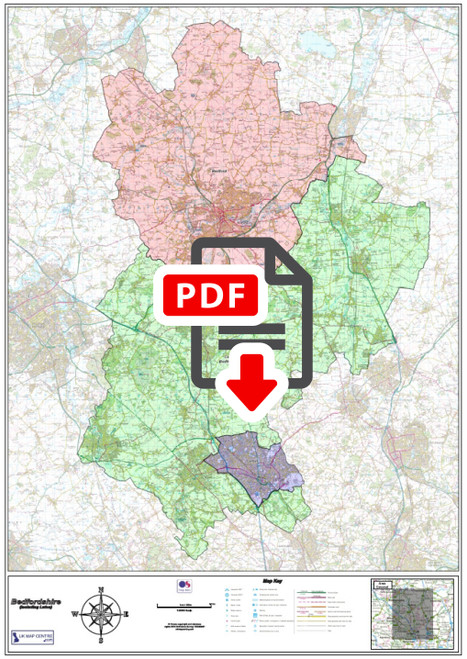 Bedfordshire County Map - Digital Download