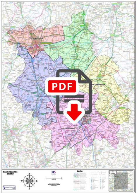 Cambridgeshire County Map - Digital Download