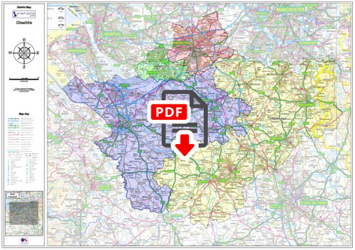 Cheshire County Boundary Map - Digital Download