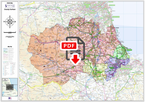 County Durham Boundary Map - Digital Download