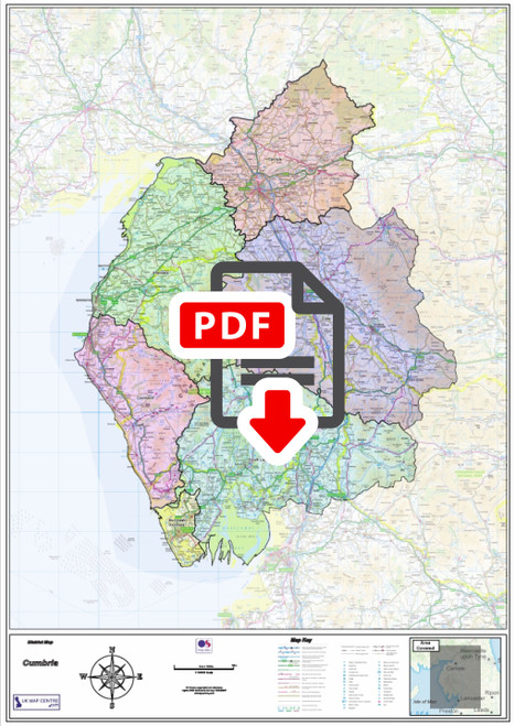 Cumbria County Boundary Map - Digital Download