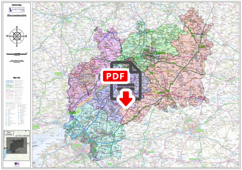 Gloucestershire County Boundary Map - Digital Download