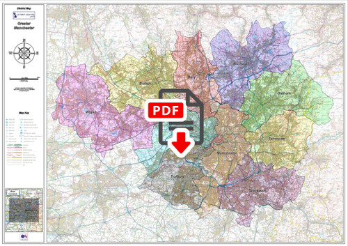 Greater Manchester District Admin Map - Digital Download