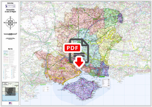 Hampshire and Isle of Wight County Map - Digital Download