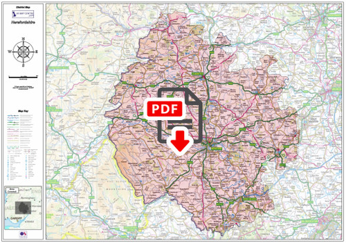 Herefordshire County Map - Digital Download