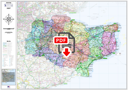 Kent County Boundary Map - Digital Download