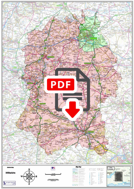 Wiltshire County Boundary Map - Digital Download