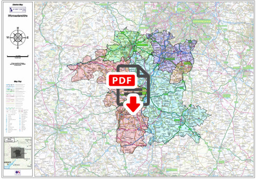 Worcestershire County Boundary Map - Digital Download