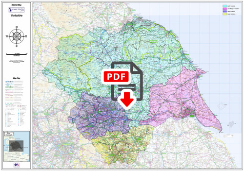 Yorkshire Counties Boundary Map - Digital Download