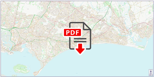 Central Bournemouth City Street Map - Digital Download