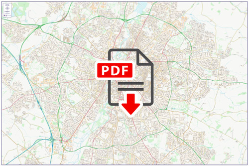 Central Leicester City Street Map - Digital Download