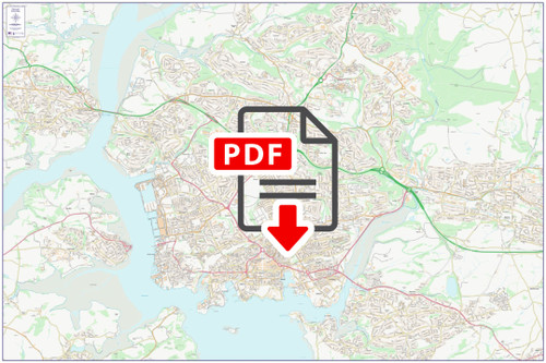 Central Plymouth City Street Map - Digital Download