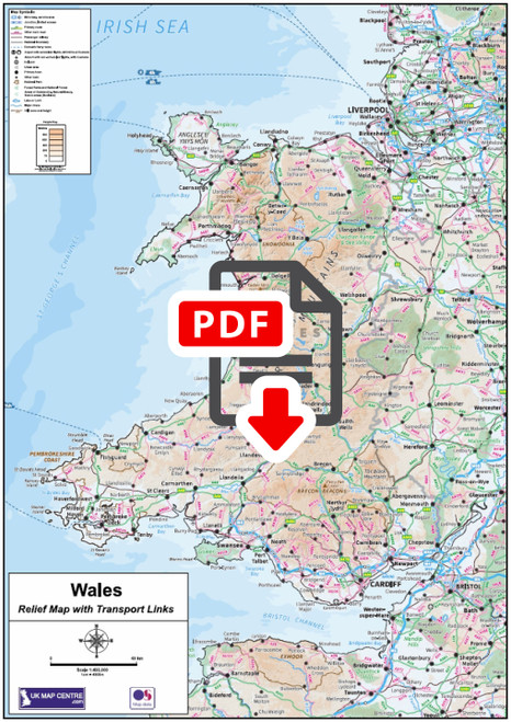 Compact Wales Map - Digtial Download