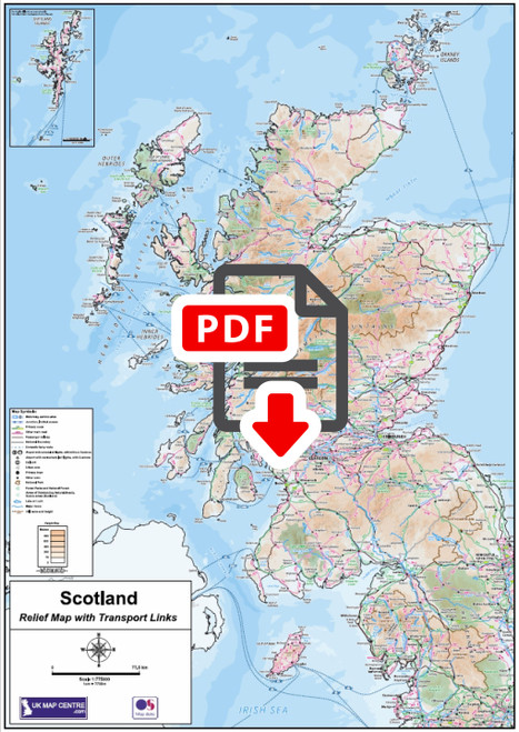 Compact Scotland Relief Map with Transport Links  - Digital Download