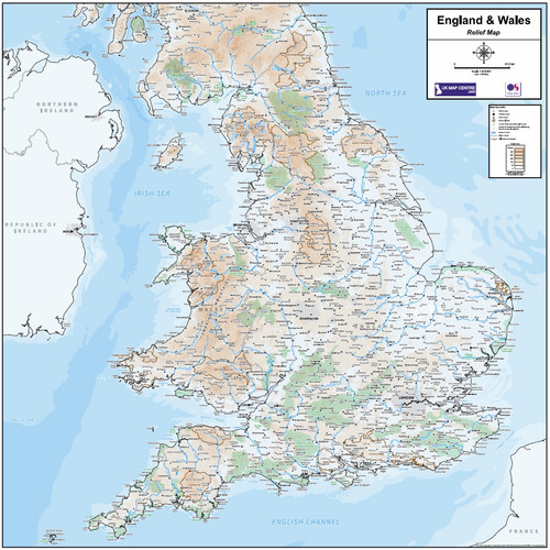 Relief Map 6 - England & Wales - Colour - Overview