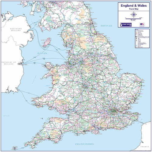 Travel Map 6 - England & Wales - Colour - Overview