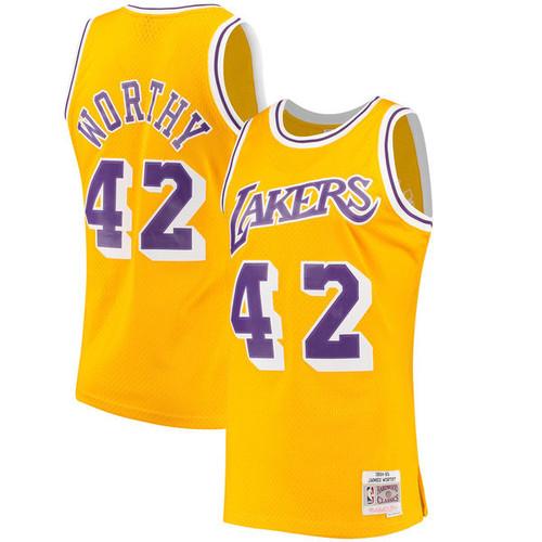 c7ac59827 Men s Los Angeles Lakers James Worthy Mitchell   Ness Gold Hardwood Classics  Swingman Jersey
