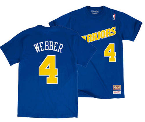 Men s Chris Webber Golden State Warriors Mitchell   Ness Hardwood Classic  Player T-Shirt d72c91c33