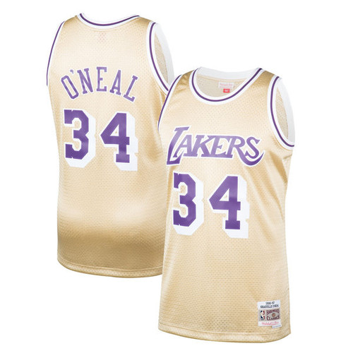 712a9327a5a9 Los Angeles Lakers Shaquille O Neal 1996-97 Mitchell   Ness Hardwood  Classics Gold Swingman Jersey