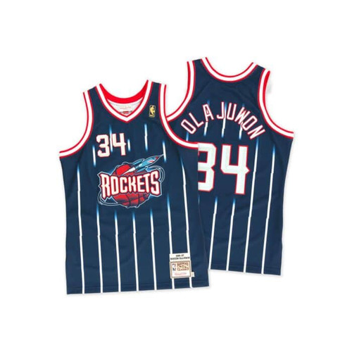 newest collection 19d76 fbe27 Houston Rockets Hakeem Olajuwon Youth Mitchell & Ness Navy ...