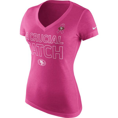 the latest 2d00f b5719 San Francisco 49ers Women's Crucial Catch Nike V-Neck Pink