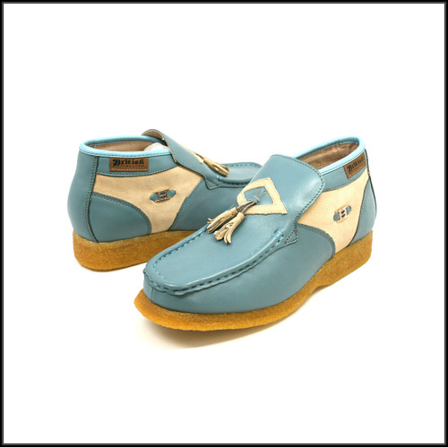 British Collection Palace-Blue and Beige Leather Slip-on
