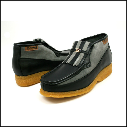 British Collection Apollo-Black Leather and Grey Suede Slip-on
