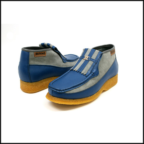 British Collection Apollo-Blue Leather and Grey Suede Slip-on