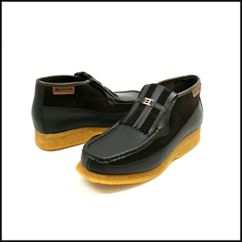 British Collection Apollo-Brown Leather and Brown Suede Slip-on