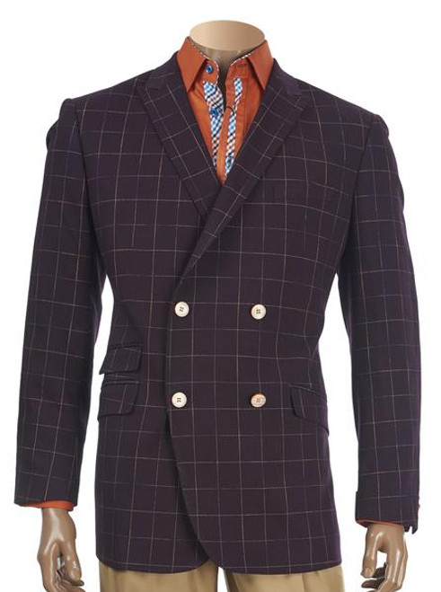 INSERCH BURGUNDY CHECK DOUBLE-BREASTED BLAZER. Prices are exclusive to online sales.