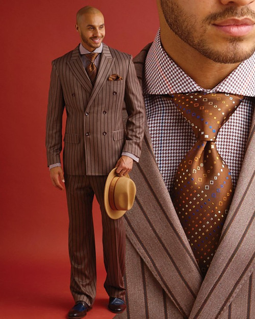 You‰Ûªre going to impress with bold lapels, bold stripes, and plenty of swagger in our Peter suit. A warm taupe shade is the base for rows of thick brown stripes, and the fabric is smooth with an elegant drape.  Prices are exclusive to online sales.