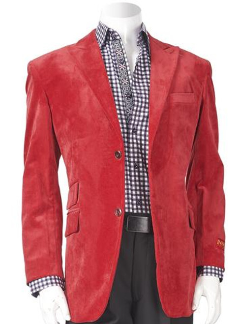 SUEDED NOTCH LAPEL BLAZER RED. Prices are exclusive to online sales.