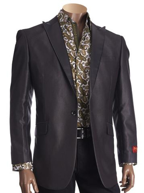 PATTERNED PEAK LAPEL BLAZER WITH PU TRIM. Prices are exclusive to online sales.