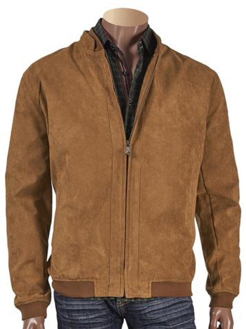 SUEDE PERFORATED SHORT JACKET. Prices are exclusive to online orders.