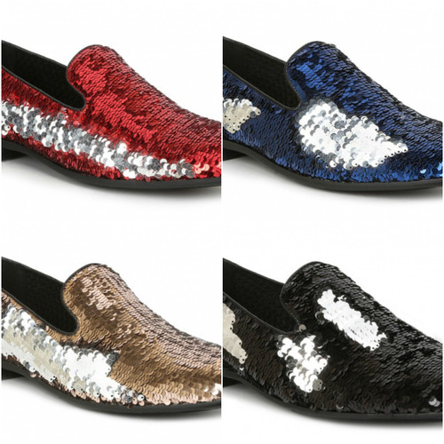 Watch out! From your tuxedo to your darkest denim jeans, this shoe can do both. With its two tone sequins you can put your creativity to the test no matter the pattern. You get two shoes for the price of one. Prices are exclusive to online sales.