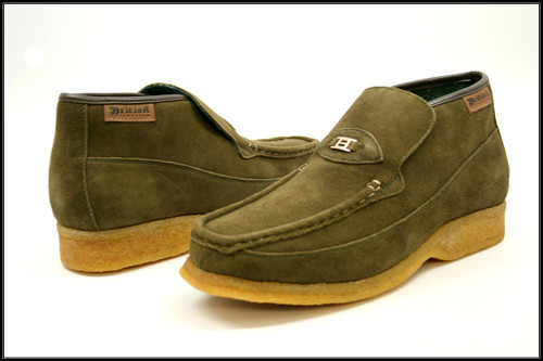 British Collection Checkers-Olive Suede Slip-ons