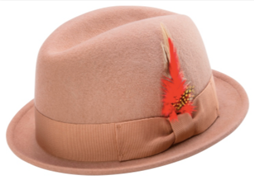 MONTIQUE MEN'S CENTER CRESE STINGY SNAP BRIM HARD FELT FEDORA HAT. Prices are exclusive to online sales.