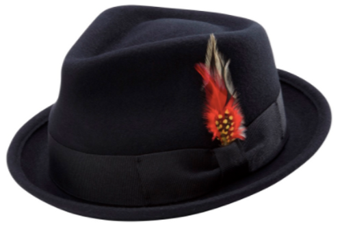MONTIQUE BOGART STINGY BRIM FINE HEATHER WOOL FELT BOGART TEARDROP DENT HAT WITH FEATHER. Prices are exclusive to online sales.