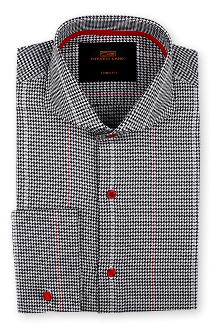 No ordinary houndstooth shirt, we created a bold stripe pattern of contrasting colors overlaid on the classic pattern.