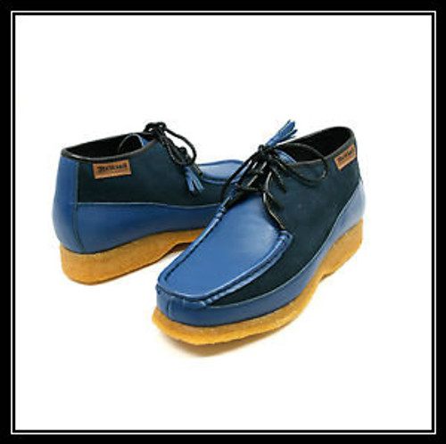 British Collection Knicks-Blue and Blue Leather/Suede Lace-up