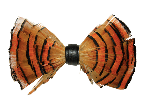 All new feather bow ties by Gianfranco can dress up or dress down and outfit for any occasion. Prices are exclusive to online sales.