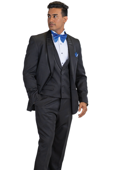 Blu Martini three piece suit is sleek subtle and everything you want in a black suit. Single Breasted, Two Button, Shawl Collar JacketSingle Breasted, Four Button, Shawl Collar, Cloth Back VestFlat Front, Half Lined, Expandable Waist Pants